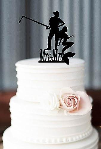 Amazoncom Customized Mermaid Wedding Cake Topper Personlized