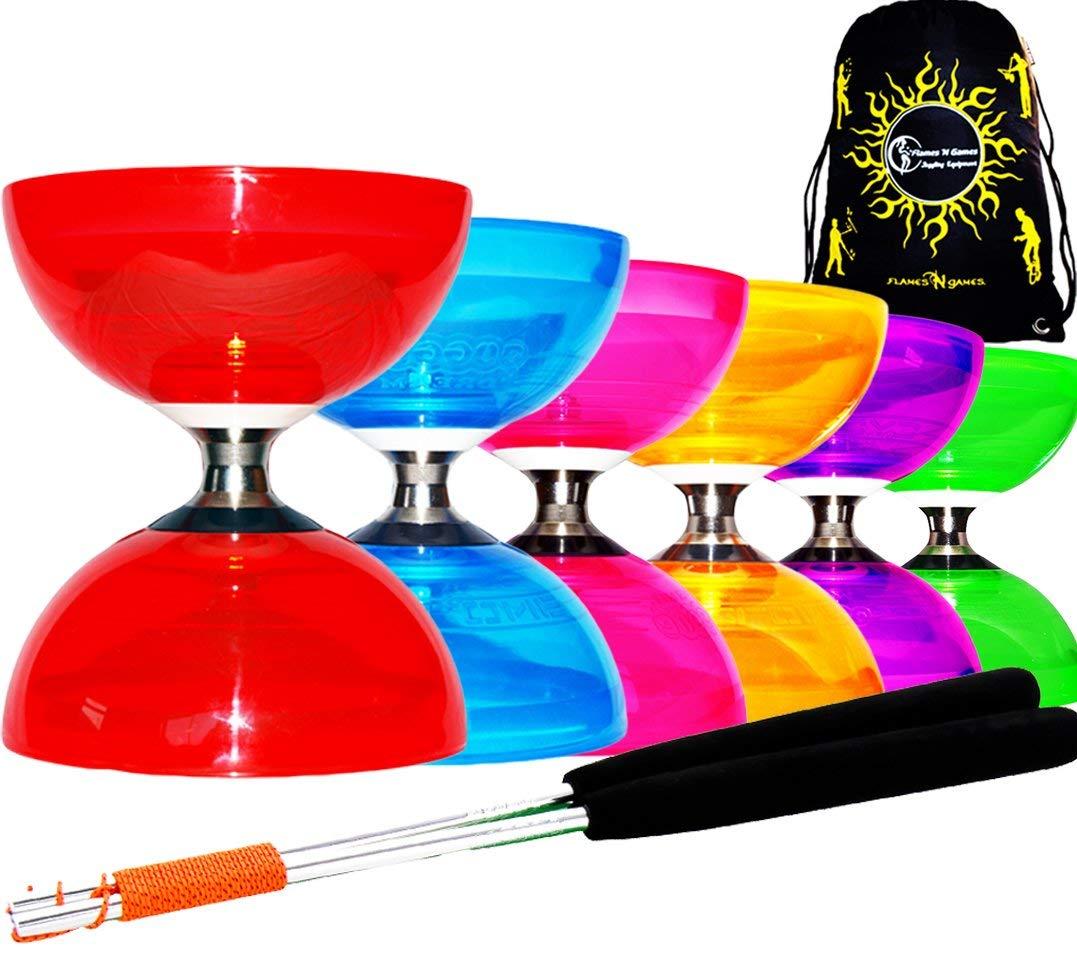 Diabolo Set Cyclone QUARTZ II (6 couleurs) - PRO Triple Roulement Diabolo + Diablo Baguettes en Aluminum et Ficelle + Flames N Games Sac de Transport. (Orange)