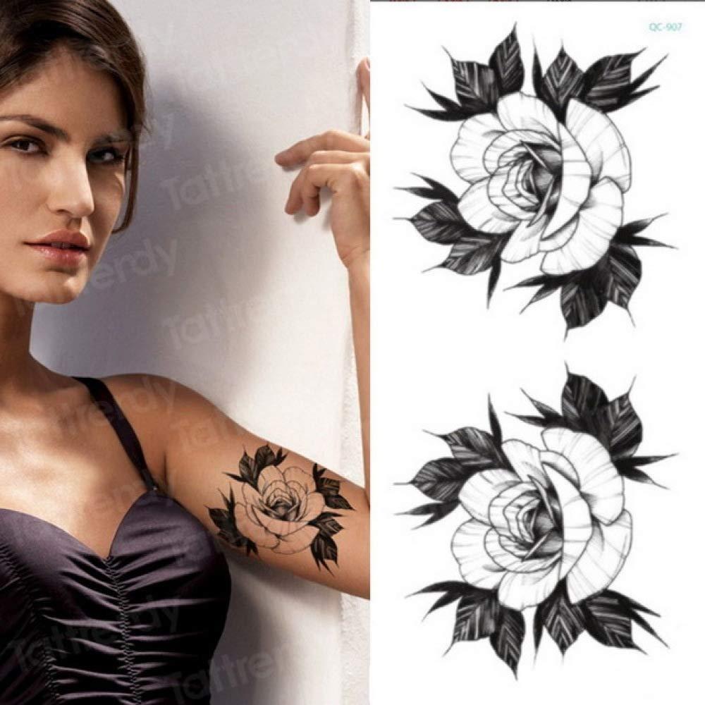 3Pcs-Girl Tattoo Tattoo Vintage Lotus muñeca Pierna Tatuaje ...