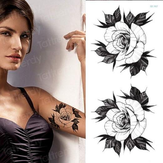 Handaxian 3pcs-Etiqueta engomada del Tatuaje Temporal Flor Negro ...