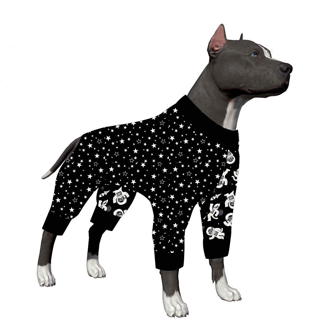 LovinPet Big Dog Pajamas, Outer Space Extra Cozy Dog Pajamas, Slim fit, Lightweight Pullover Pajamas/Full Coverage Dog pjs/Please Reese Size Chart Before Ordering
