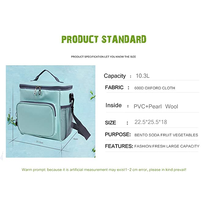 WOSON 10.3L Collapsible Insulated Lunch Bags Picnic Camping Cooler Bag Outdoor Lunch Food Cool Bag Box Green