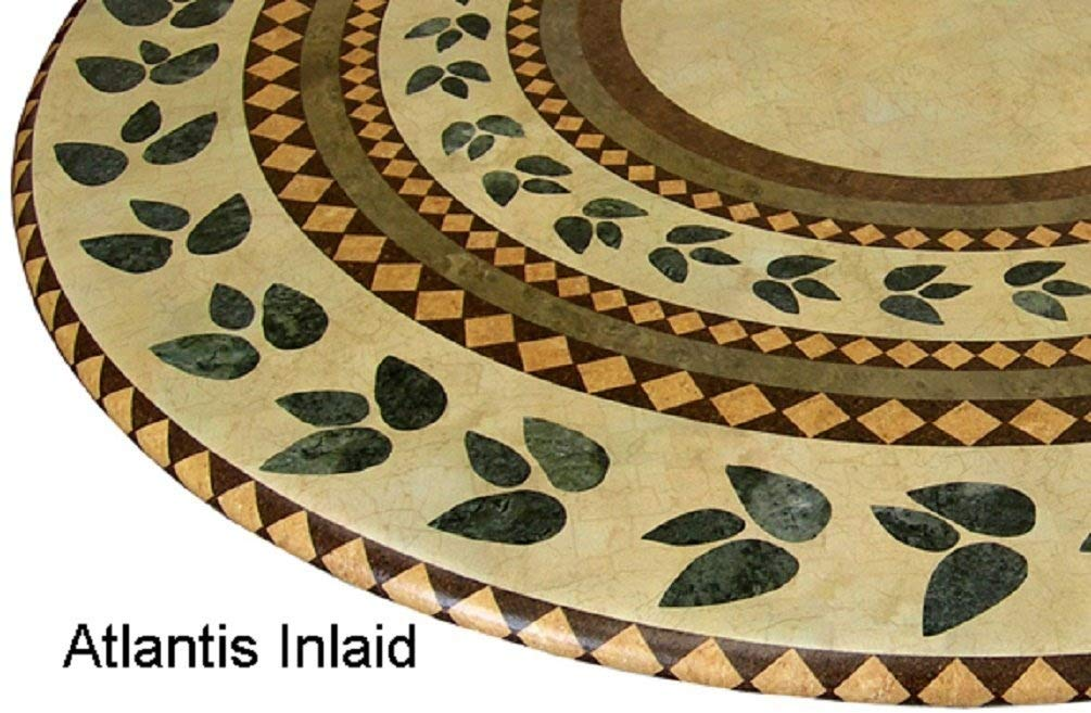 Mosaic Table Cloth Round 36'' to 48'' Elastic Edge Fitted Vinyl Table Cover Inlaid Atlantis Pattern Brown Tan Green