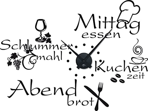 Graz Design 800396_BK_070 Wandtattoo Uhr Wanduhr Mit Uhrwerk Küche  Esszimmer Sprüche Günstig (Uhru003dSchwarz