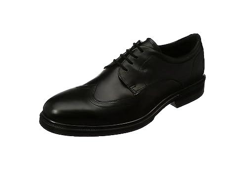 ECCO Lhasa, Zapatos de Cordones Brogue Para Hombre, Negro (Black), 45 EU