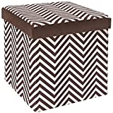 The FHE Group Microsuede Folding Storage Ottoman, 15 by 15 by 15 Inches, Chocolate Zig Zag For Sale