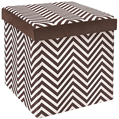 Fresh Home Elements The FHE Group Microsuede Folding Storage Ottoman, 15 by 15 by 15 Inches, Chocolate Zig Zag (Storage Striped Ottoman)