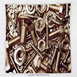 59 x 59 Inches Industrial Decor Fleece Throw Blanket Assorted Nuts and Bolts Close-up Picture Metal Parts Tighten Screws Supplies Blanket