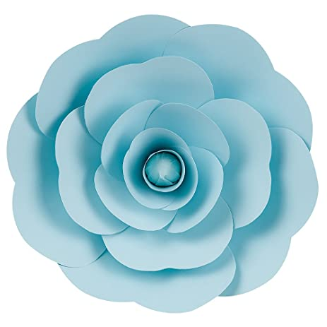 Amazon paperlanternstore large 12 pre made light blue paperlanternstore large 12quot pre made light blue ranunculus paper flower wedding backdrop mightylinksfo