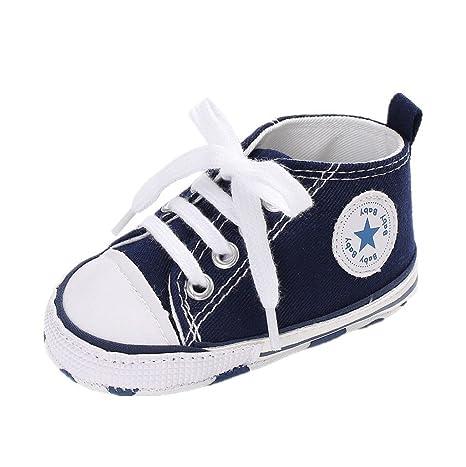 Fligatto Zapatillas de Lona Suaves para bebé, Niño o Niña, Blau 13cm