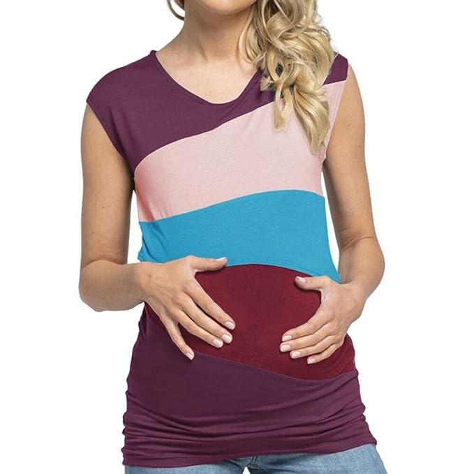 Cinnamou Lactancia de maternidad para mujeres, Camiseta de Sin Mangas Embarazada Cuello Redondo Color Bloque Verano Ropa Doble capa blusa camiseta para ...