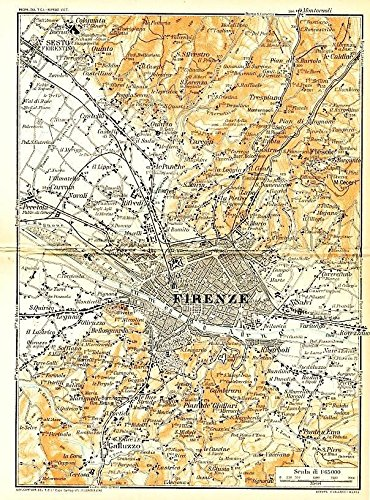 Environs of Florence Italy 1929 color lithograph city plan map