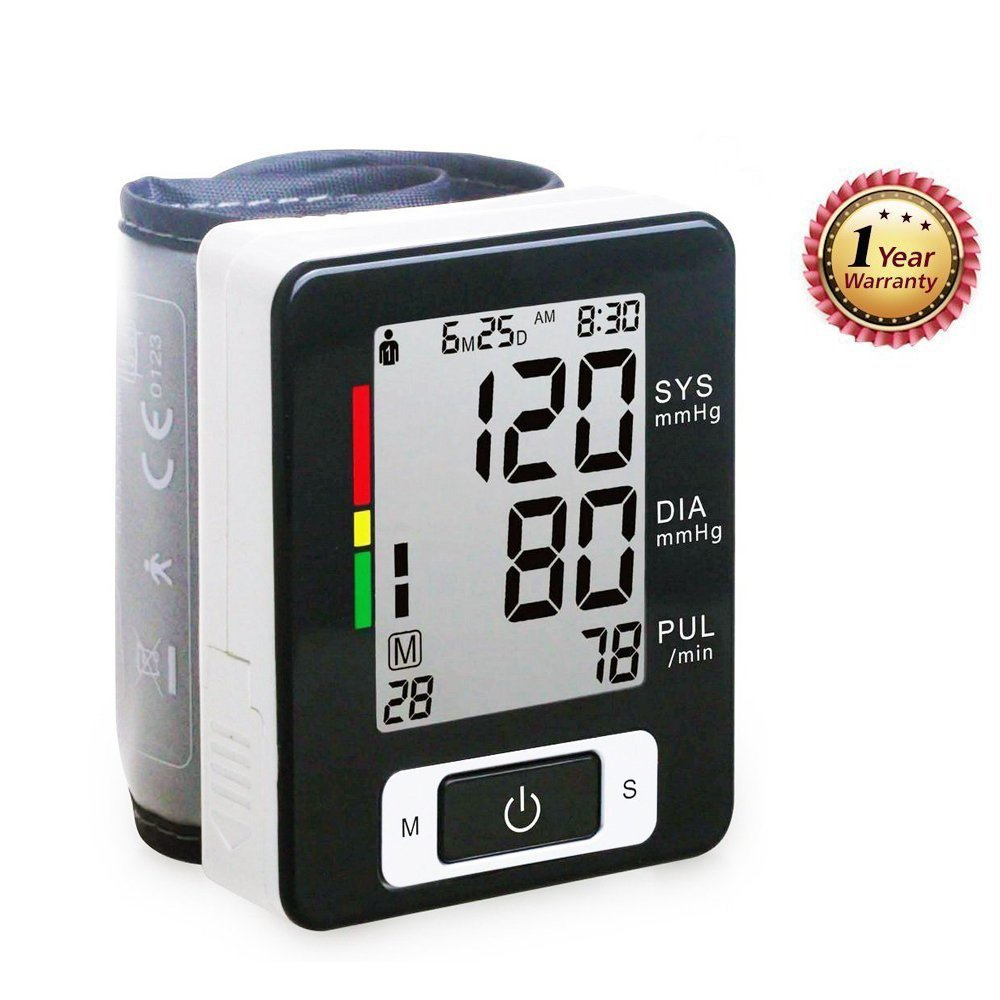 Portable Wrist Blood Pressure Monitor FDA Approved with Large Display, Two User Modes, Adjustable Wrist Cuff,IHB Indicator and 90 Memory Recall (Black)