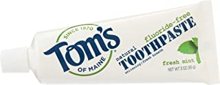 product image for Tom's of Maine Natural Fresh Mint Fluoride-Free Whitening Toothpaste 3 Ounces each (24 Pack) TSA Airplane Approved Freshens Bad Breath and Whitens Teeth