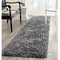 Safavieh Malibu Shag Collection MLS431C Handmade Charcoal Polyester Runner (23 x 11)