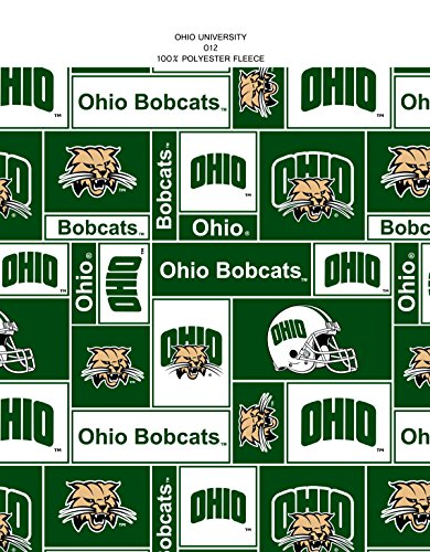 OHIO UNIVERSITY BOBCATS Fleece Fabric-OHIO UNIVERSITY Fleece By the (University Fleece Fabric)