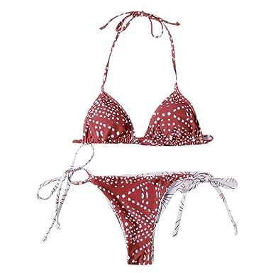71988af04e Amazon.com: Womens Tie Side Triangle Bikini Set Two Piece Swimsuit High  Waisted Halter Padded Swimwear Bathing Suit: Clothing