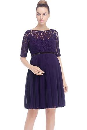 76cda8a04d Momo Maternity Pleated Lace Fit   Flare Dress - Purple -  Amazon.co ...