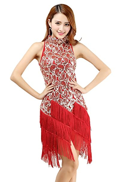 ZEVONDA Optimal Mujer Salsa Latina Tassel lentejuelas vestido Ball Room Competencia Dancewear primavera/verano todo