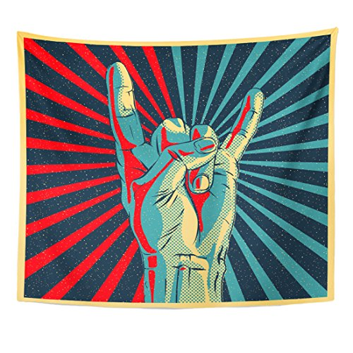TOMPOP Tapestry Colorful Music Hand in Rock N Roll Sign Pop Home Decor Wall Hanging for Living Room Bedroom Dorm 50x60 Inches ()