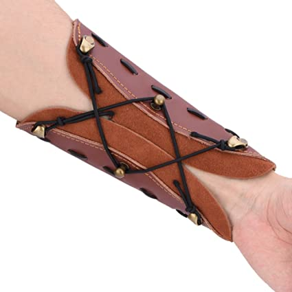 Archery Arm Guard Traditional Cow Leather Bracer for Longbow Recurve BowXBUK