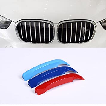 3Pcs For X1 F48 2016 18 Car Accessories ABS Front Grill Trim Decoration  Sport Stripes