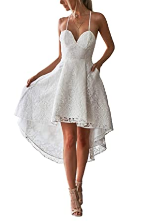 Adonis Pigou White High Low Beach Wedding Dresses Spaghetti Lace