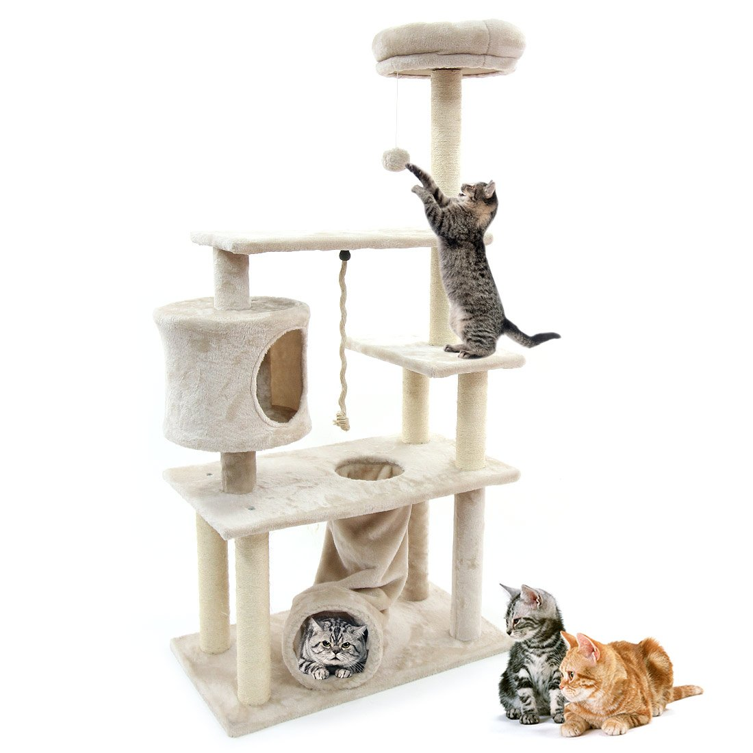 CUPETS Cat Tree Furniture Condo Multi-Level Play House Pet Products—With Play Toys & Scratching Posts