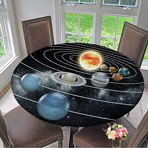 Mikihome The Round Table Cloth Solar System with Eight Planets. for Birthday Party, Graduation Party 50''-55'' Round (Elastic Edge) by Mikihome