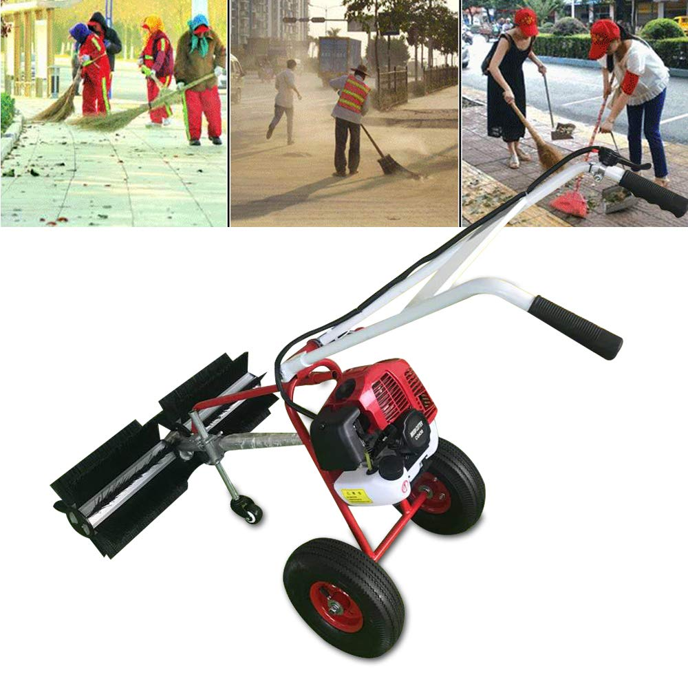 GDAE10 Outdoor Walk Behind Sweeping Broom, 1.7HP 43CC Powerful Device with 2-Stroke Petrol Engine for Clean Driveways and Sidewalks, Parks and Other Flat Surfaces,Air-Cooled System