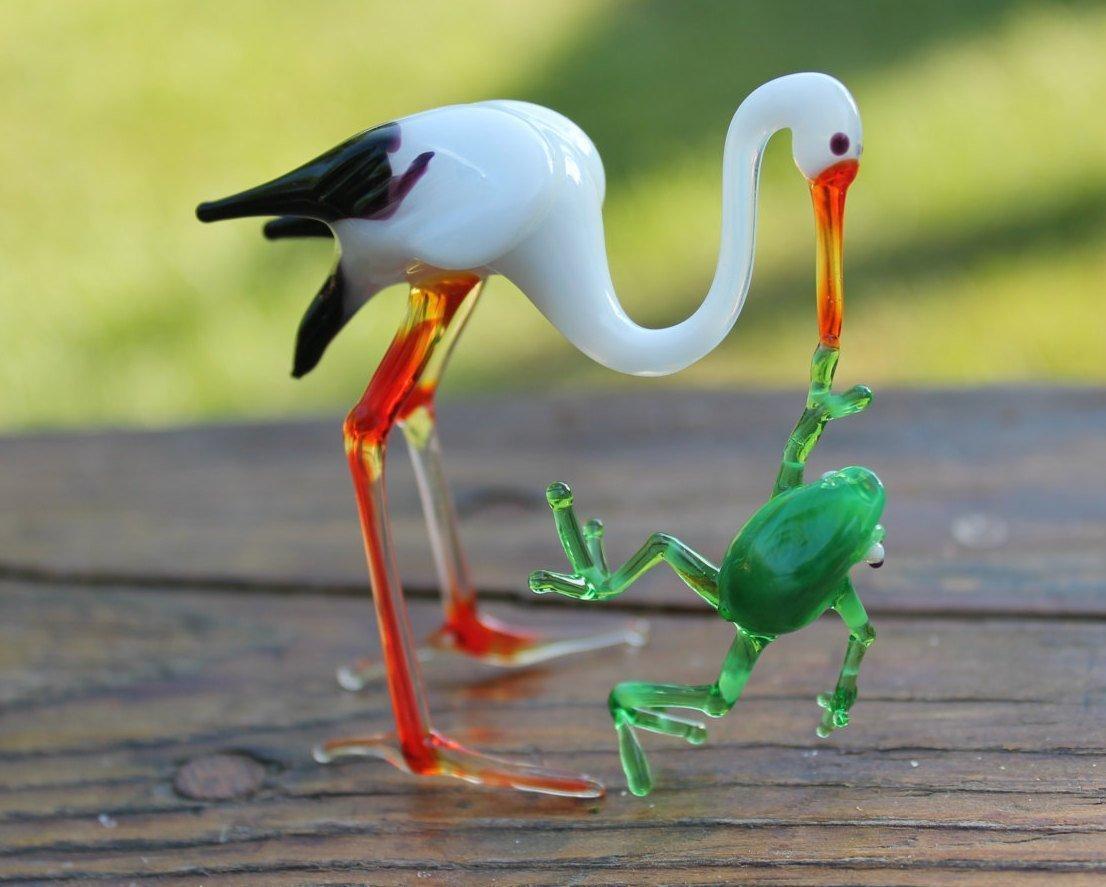 Glass Stork bird Murano Gift Blown Stork Sculpture Art Collectible Artglass Lampwork Stork Figurines Miniature Little Glass Animals
