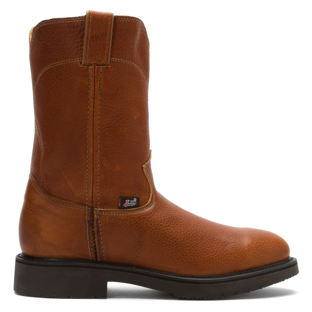 Justin Mens Steel Cmfrt Pull On Work Boots 13D