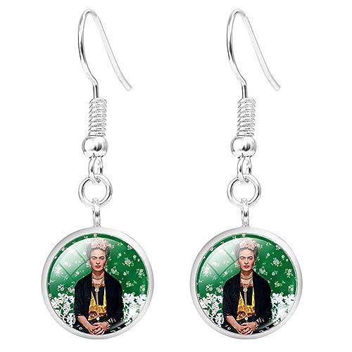 prezzo più basso vivido e di grande stile cerca l'autorizzazione Frida Kahlo orecchini per donne ragazze vetro cabochon ...