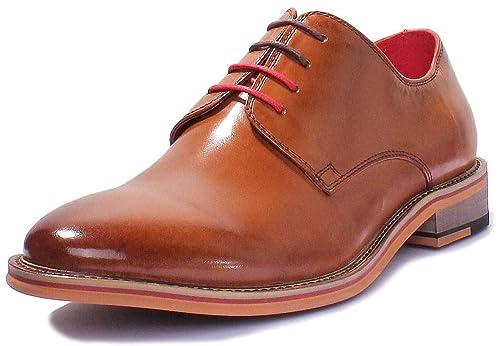 Justin Reece - Mocasines de cuero para hombre, color marrón, talla 45: Amazon.es: Zapatos y complementos
