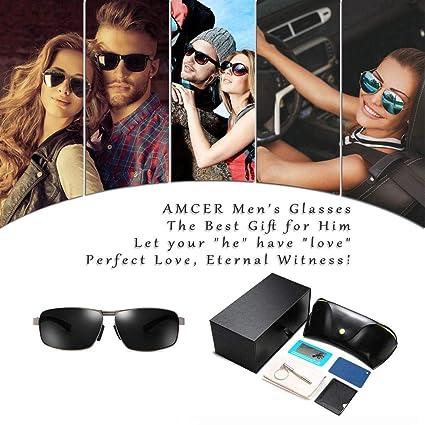 e93829354c Amcer Gafas de Sol polarizadas para Exteriores, 100% de protección UV,  Lente HD diseñada para Conducir Gun - Black & Gray: Amazon.es: Deportes y  aire libre