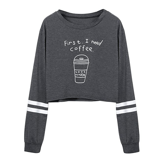 BBsmile Sudaderas Mujer Tumblr Cortas con Capucha - Andrajoso Manga Camiseta Blusas Invierno Otoño Ropa para