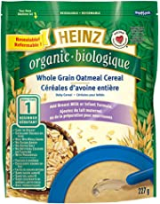 Heinz Organic Whole Grain Oatmeal Cereal - No Milk, 227g (Pack of 6)