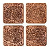 Paris Map Coaster by O3 Design Studio, Set Of 4, Sapele Wooden Coaster With City Map, Handmade