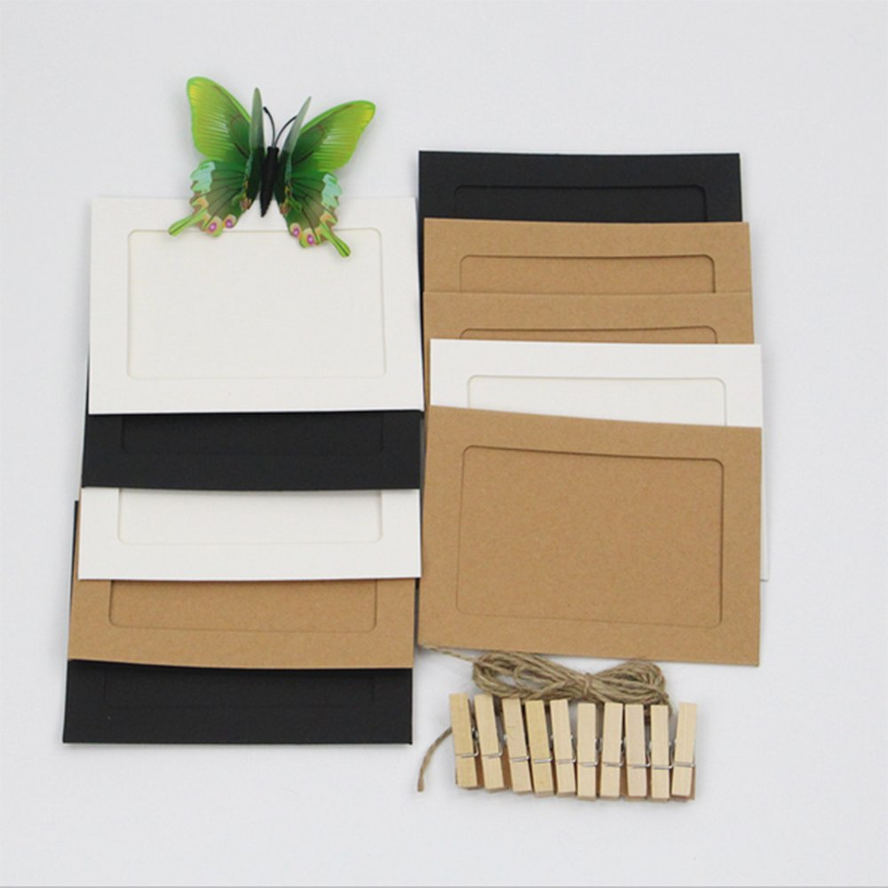 10 PCS DIY Kraft Paper Hanging Wall Mini Film Picture Photo Album Frame with Rope and Clips Sets