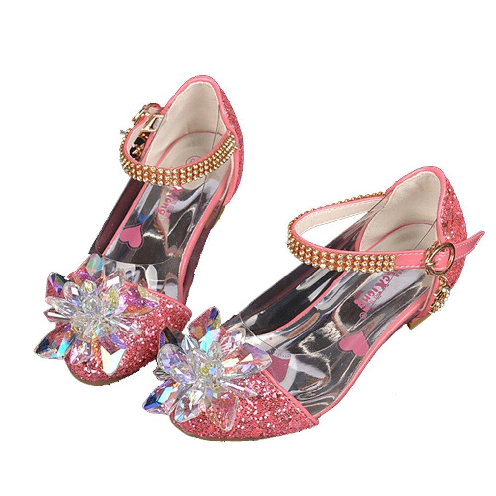 Veribuy Girls Sequin Sandals Princess Crystal High Heels Shoes Dancing Shoes Silver//Pink//Blue//Golden