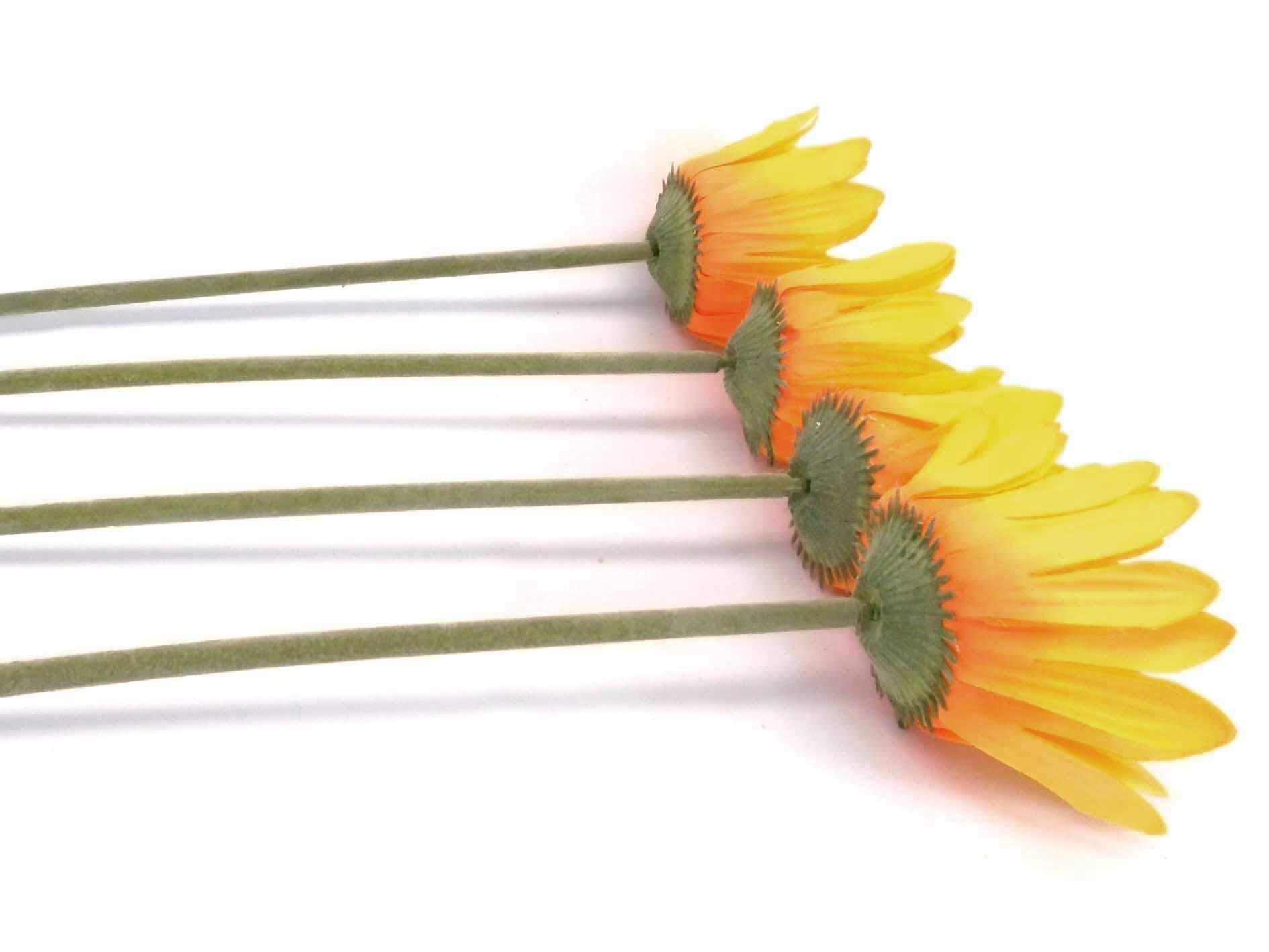 "silk flower arrangements phoenix silk 4 stems daisy artificial silk flowers 1001yl 24"" spray yellow"