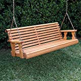 Amish Heavy Duty 800 Lb Roll Back Treated Porch Swing With Hanging Chains (5 Foot, Cedar Stain)