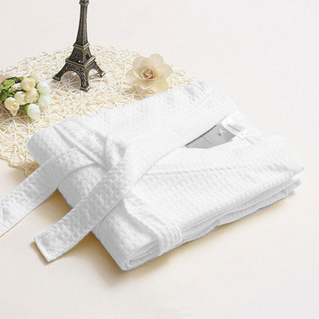 eDealMax femminile turco Cotone leggero Waffle Kimono Corta Robe L/XL Bianco