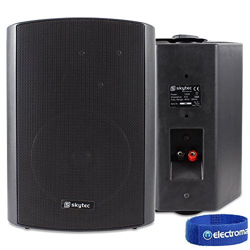 Black Wall Mount Speakers (Pair) 6.5' Restaurant Bar Background Music 120W