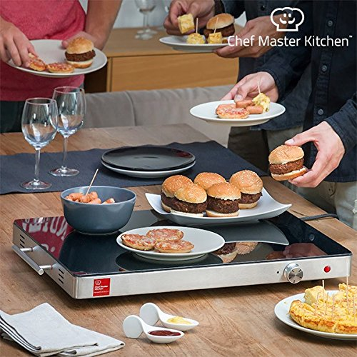 Chef Master Kitchen Bandeja Calientaplatos, Acero Inoxidable, Gris, 61 x 41 x 6 cm Igs IG113799