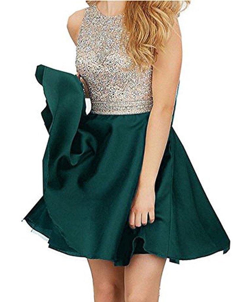 Dark Green DKBridal Women's Beaded Sequins Homecoming Dress Satin Short Party Dress