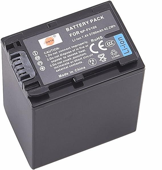 DSTE NP-FV100 /® Lot de 2 piles Li-ion rechargeables DC04U Chargeur pour Sony DCR-SR15 SX65 SX83 SX85 CX220 CX230 CX260V CX290 CX300 C CX115//CX150 CX155 CX110 HDR-CX105 CX160 CX190 CX200 CX210 SX15 SX21 SX44 SX45 SX63 CX130 SR21 SR68 SR88