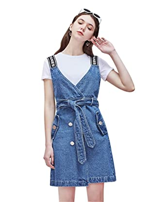 b85a85ddae Drasawee Women's Slim Fitted Denim Overall Dress Suspender Jumper Jean Skirt  with Pocket S