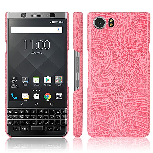 Zshion Case for BlackBerry Keyone ,Croco Premium PU Leather Protective Cases Simple Deurable and Lightweight Case for BlackBerry Keyone (Pink)