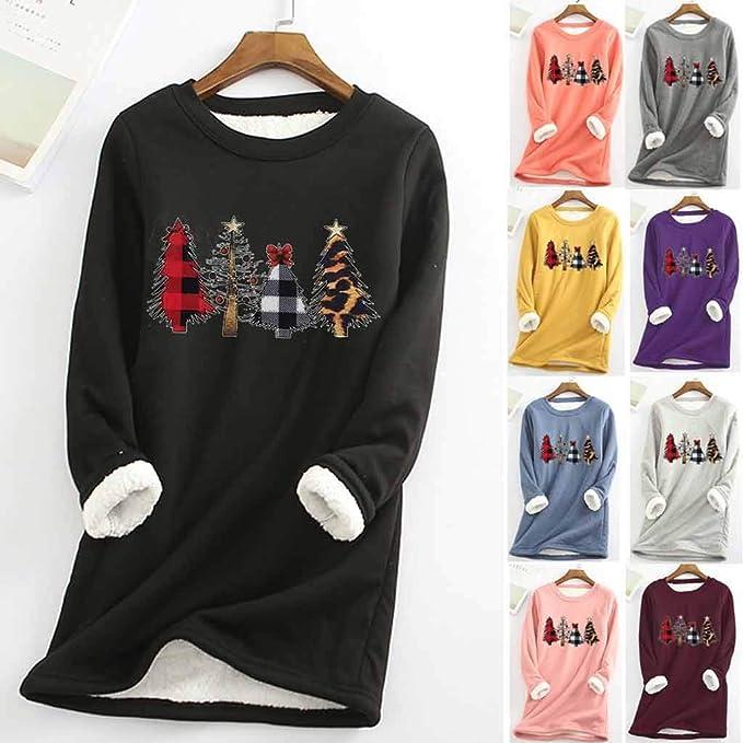 ZSBAYU Women Thick Fleece Warm Tops Bottoming Shirts Pullover Sweatshirt Winter O-Neck Long Sleeve Thermal Underwear Top